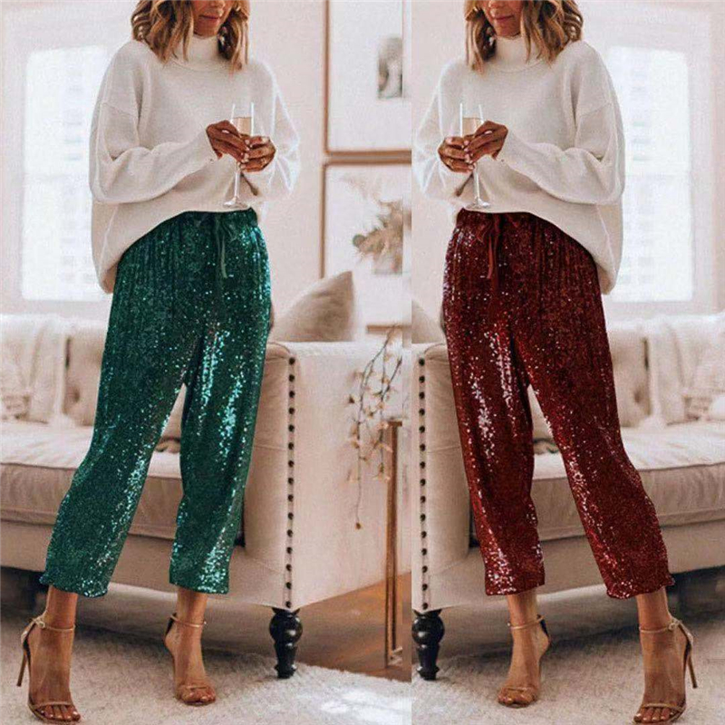 Sequined Shining Loose Full Pants Women High Waist Club Night Lady Wide Leg Trousers
