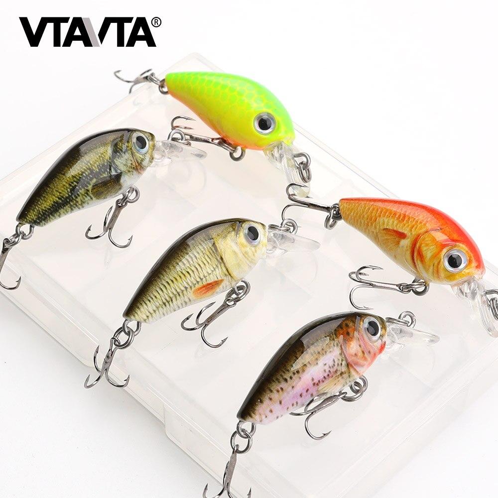 VTAVTA 5pcs/lot Mini Wobblers Pike Fishing Lure Set 3.5cm 4g Crankbaits Minnow Lure Hard Artificial Bait With Fishing Tackle Box