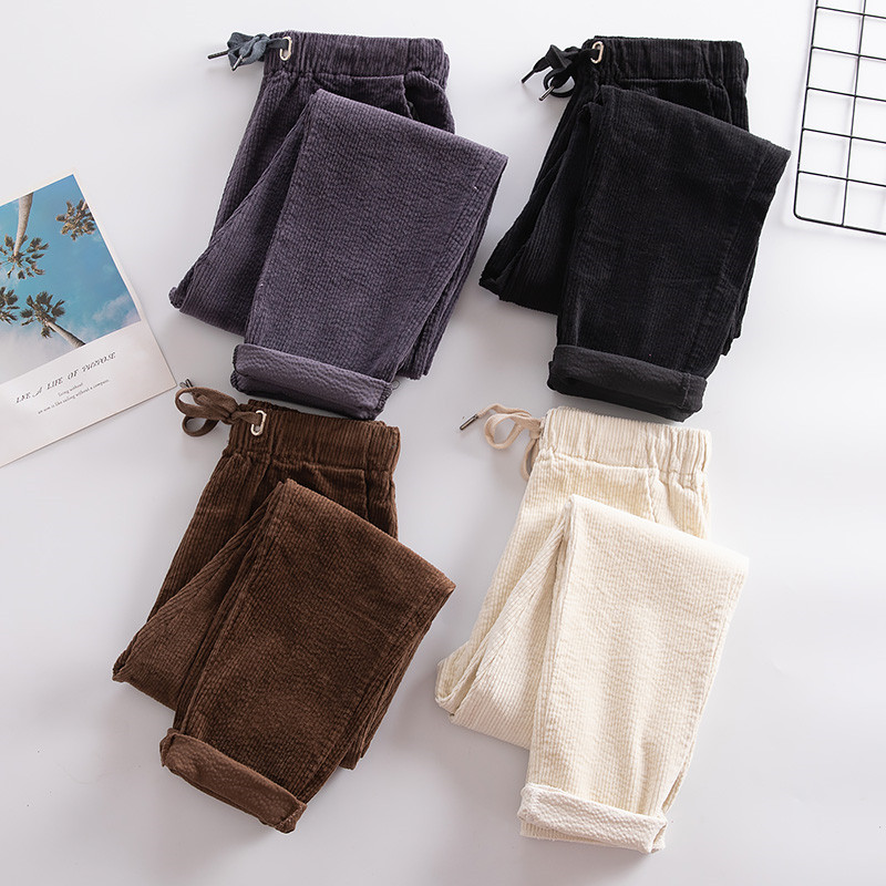 New Spring Autumn Pants Women Vintage Corduroy Warm Trousers Female Casual Loose High Waist Harem Pants Pantalon Mujer M486