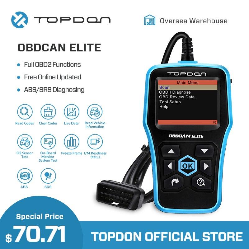 Ultrascan TOPDON OBDCAN ELITE Ferramenta de Diagnóstico EOBD Ferramenta de Verificação de Leitor de Código de ABS SRS OBD2 2 Scanner OBDII OBD Do Carro Completo função II