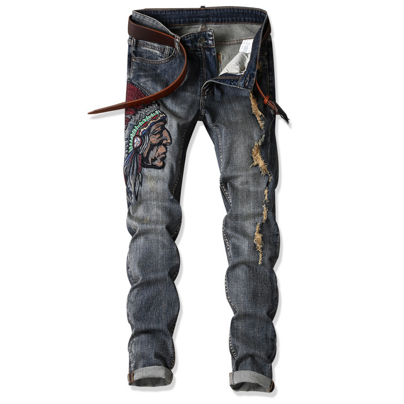 Foreign Trade New Style MEN'S Jeans Retro Nostalgic Embroidered With Holes Indians Slim Fit Elasticity Skinny Pants Hot Selling