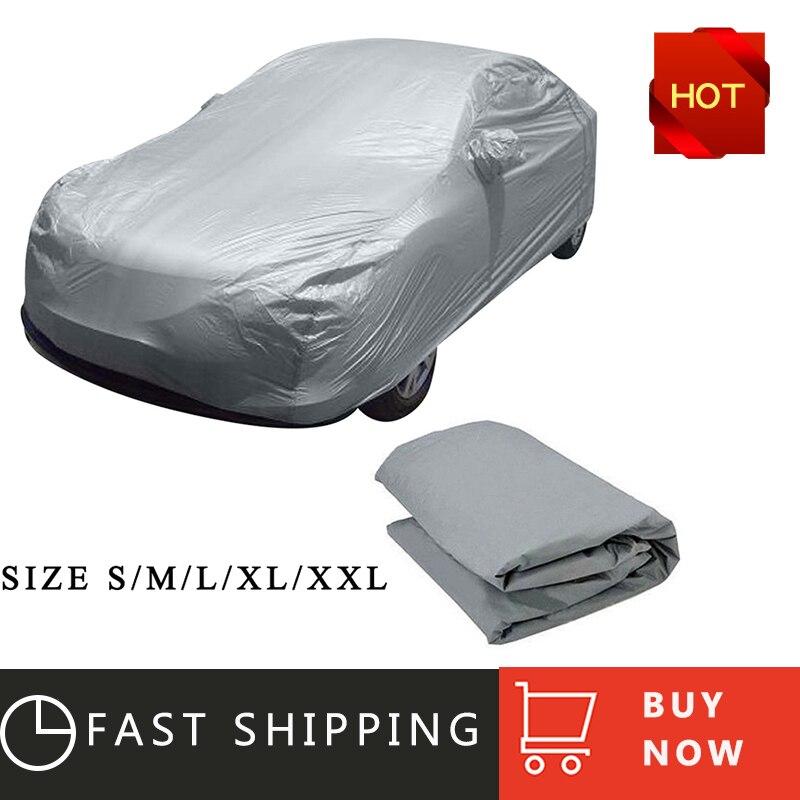 Universal coche lleno cubre hielo de nieve polvo sol UV sombra cubierta de luz de plata tamaño S-XL Auto al aire libre cubierta del Protector