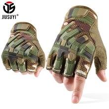 JIUSUYI yarım parmak eldiven taktik ordu askeri eldivenler parmaksız SWAT Camo eldiven Paintball çekim bisiklet sürüş erkekler 2020