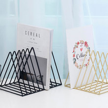 Nordic Iron Magazine Holder Iron Wrought Desktop Magazine Organizer Storage Rack 7 Grid Newspaper Shelf Office Desk Storage