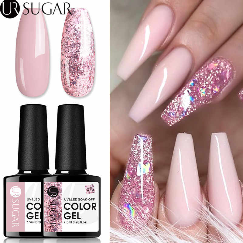 UR GULA 2 Pc/set Rose Emas Nude Gel Nail Polish Glitter Payet UV Gel Varnish Rendam Off UV Led Gel varnish Semi Permanen Set