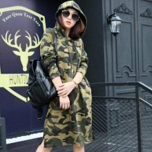 цены Camouflage Hoodie Sweatshirt Dress Military 2020 Spring Autumn Japanese Hoodies Ladies Side Split Hooded Long Coat with Lace-up