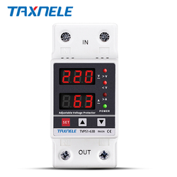 Dual Display 40A 63A 230V Din Rail Adjustable digital Over Under Voltage Relay Surge Protector Limit Over Current Protection