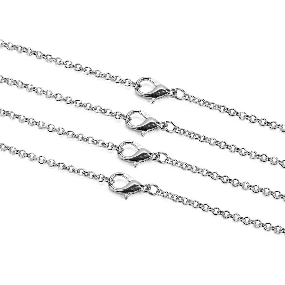 10 Stks/partij Goud Zilver Antiek Brons Kleur 3 Mm Ronde Ketting Met Karabijn 60 Cm Fit Diy sieraden Maken Bevindingen