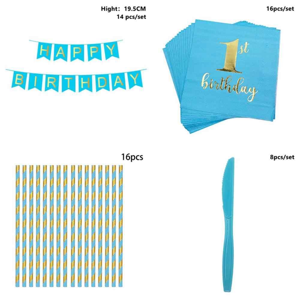 Taoup 1. 1 zestaw rok urodziny dekory dzieci dziecko Baby Shower chłopcy dziewczęta z okazji urodzin jednorazowe imprezowa zastawa stołowa