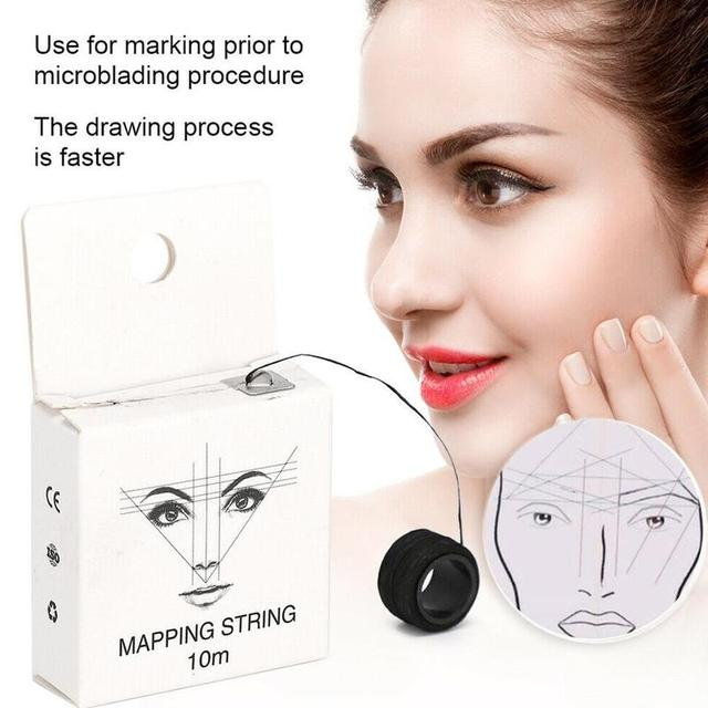 10m 2 Pcs Microblading Mapping String Pre-Inked Eyebrow Point Marker Marking Tattoo Line Eyebrow thread Line Brows Pencil T F6C3 5