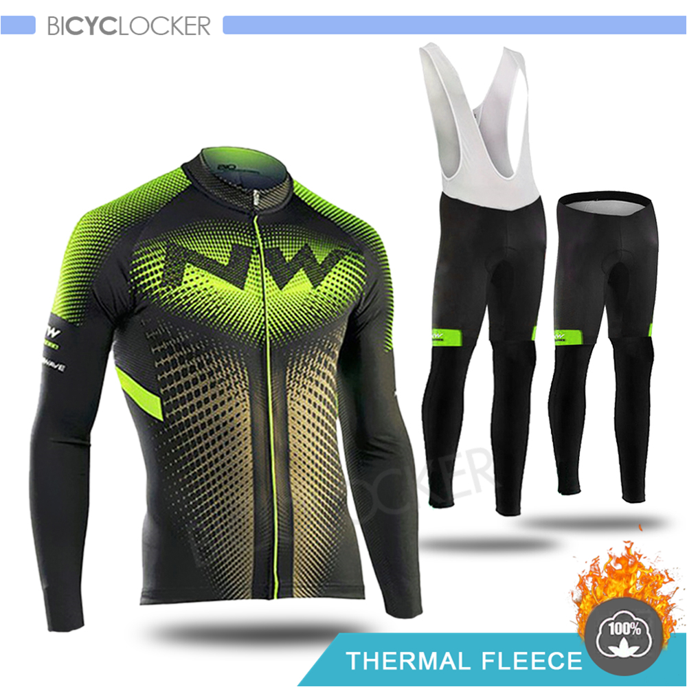 Northwave Winter Cycling Jersey Set  Long Sleeve Clothing Thermal Fleece Cold Protection MTB Keep Warm Riding Man Clothes
