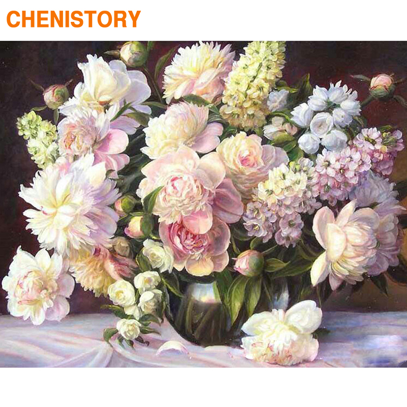 CHENISTORY Frame DIY Painting By Numbers Modern Wall Art Picture By Numbers Flowers Paint By Numbers For Home Decor 60x75cm Gift