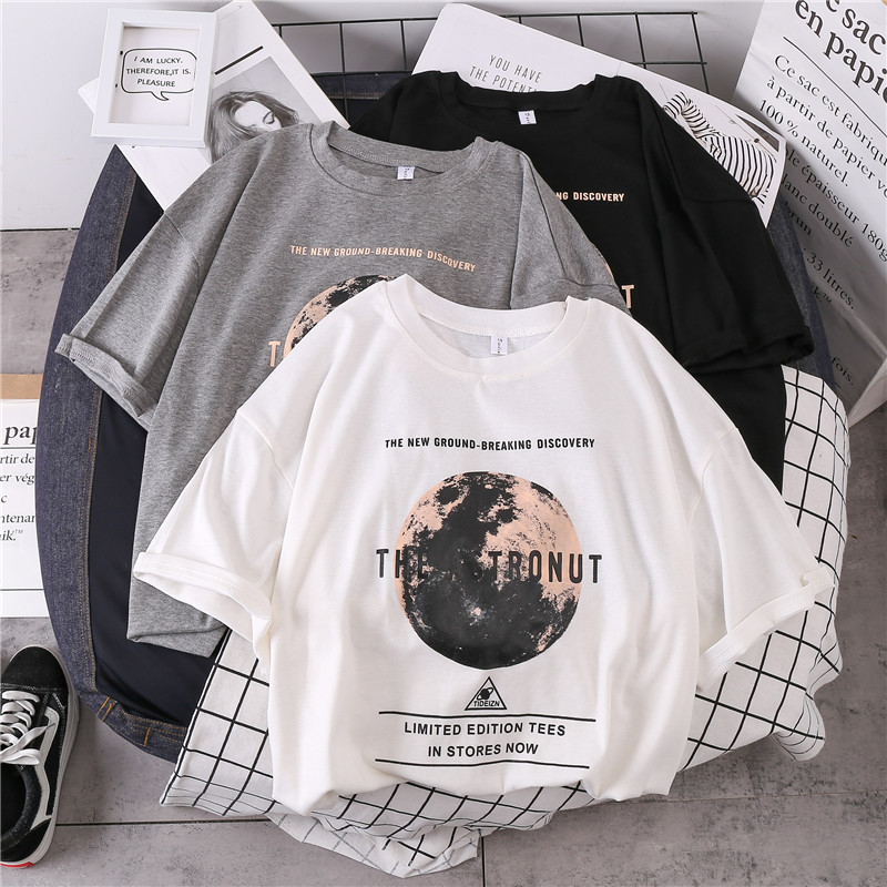 2020 Spring Summer Short Sleeve Tee Shirt Femme Oversized T Shirt Print Casual Loose O-neck Tops Harajuk Black Women Shirts