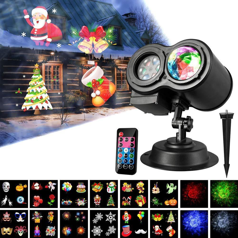 Outdoor Waterproof Christmas Projection Lamp 12 16 Patterns Water Wave Projector Halloween Lawn Light Christmas Party Decor