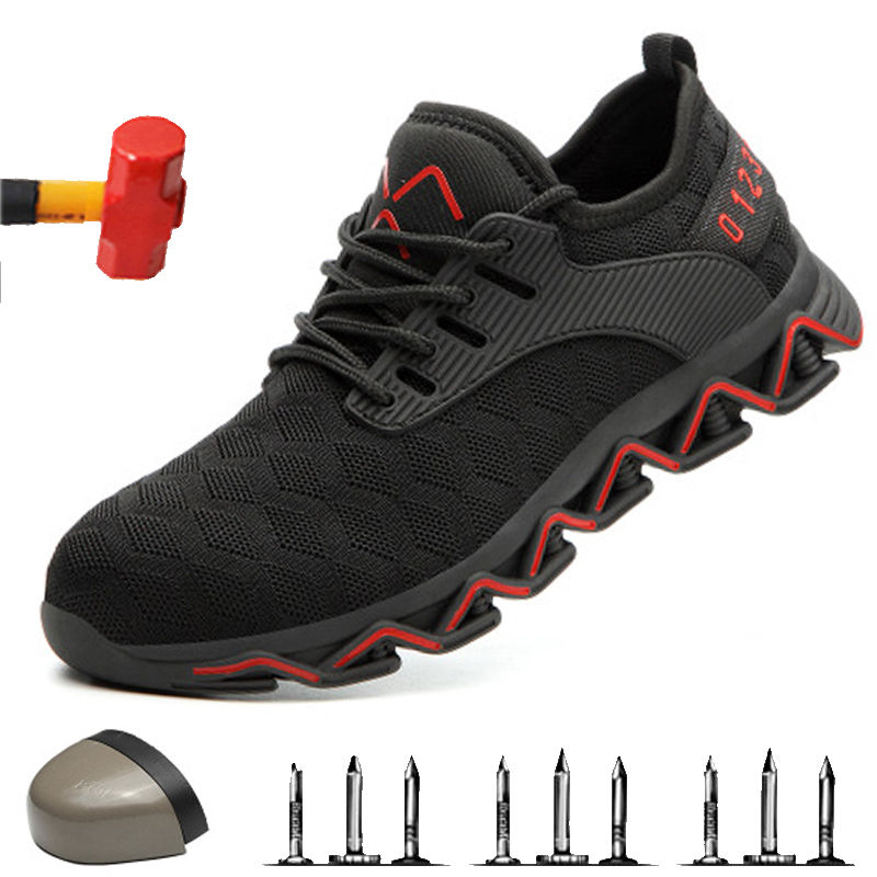Dropshipping Steel Toe Safety Shoes Men Lightweight Anti-Crush Working Unisex Breathable Wear-resisting Sneakers Both Men And Wo