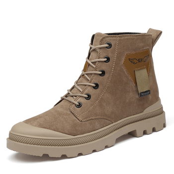 Buty do butów męskie zimowe buty ocieplane męskie buty skórzane buty Martin buty antypoślizgowe buty podróżne na zewnątrz buty za kostkę tanie i dobre opinie HOMASS Buty motocyklowe Skóra Split ANKLE Stałe Dla dorosłych NONE Okrągły nosek RUBBER Wiosna jesień Niska (1 cm-3 cm)