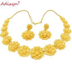 Adixyn جديد أطقم مجوهرات دبي زهرة شكل قلادة القرط الذهب اللون الهند المرأة الأفريقية الزفاف هدايا حفلات N12305