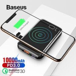 Baseus cargador inalámbrico Qi de 10000mAh para iPhone Samsung Huawei Powerbank PD carga rápida 3,0 batería externa portátil