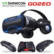 Óculos de realidade virtual g02ed vr shinecon 8.0, headset e headset de realidade virtual 3d para vr com capacetes e controle opcional