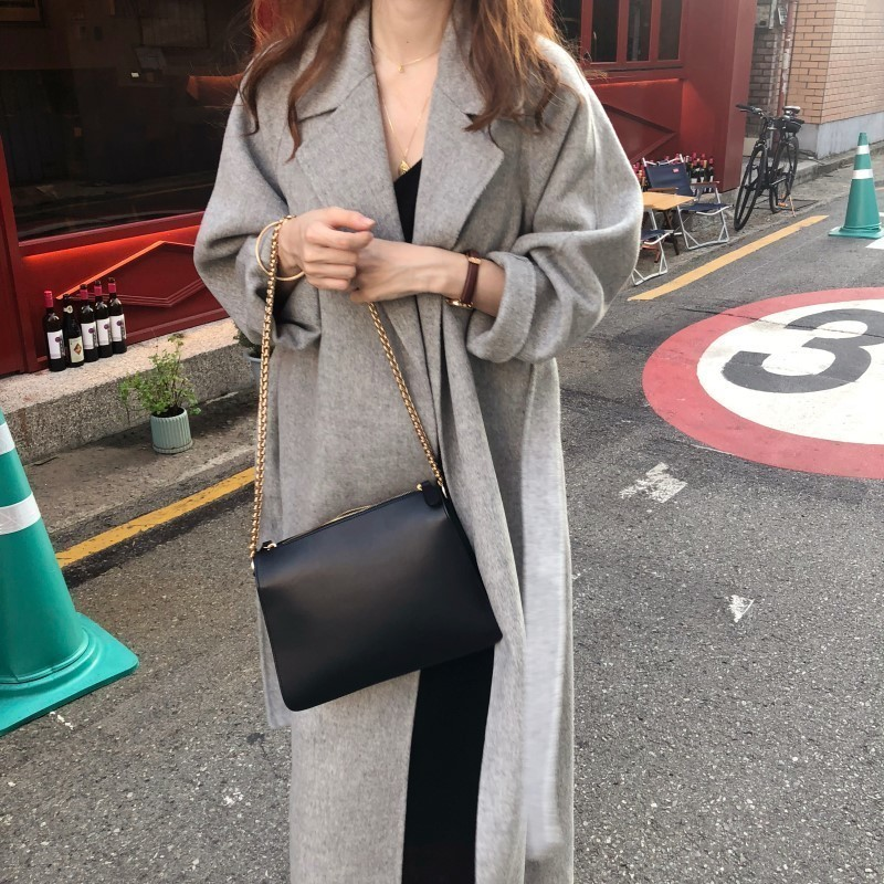 H999891bcfe454474b6c1a899a19af928i Winter Fashion Coats Women Wool-blend Coat Lazy Oaf Long Chunky Warm Coat Western Style Fitted Waist Lace-up  Loose Coat