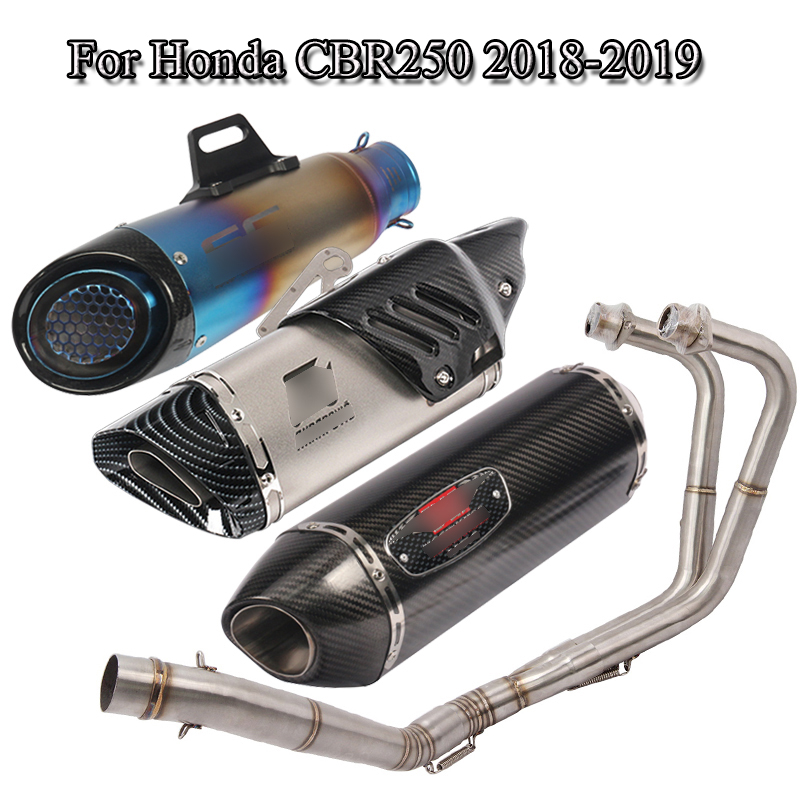 For 2018 2019 Honda CBR250 <font><b>CBR</b></font> <font><b>250</b></font> Motorcycle Full <font><b>Exhaust</b></font> System Pipe <font><b>Exhaust</b></font> Muffler Tail Pipe Link Front Connect Tube Slip On image