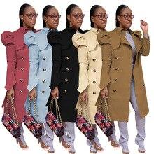 Khaki Double Breasted Classic Women Trench Coat Elegant Long Puff Sleeve Loose Long Windbreaker High Street Female Slim Outwear