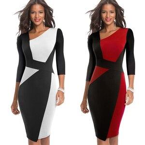 Image 3 - 素敵な永遠のヴィンテージコントラスト色パッチワーク着用して作業する vestidos ビジネスパーティーボディコンオフィスエレガントな女性ドレス B517