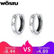 WOSTU Shiny Star Hoop Earrings 100% 925 Sterling Silver CZ C
