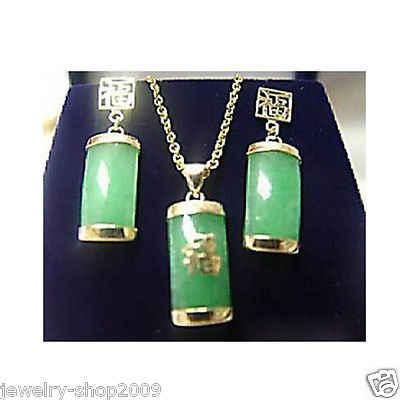 חם למכור חדש-תכשיטים ירוק ירקן תליון שרשרת עגילי סט >^^ 1> 18K זהב מצופה שעון קוורץ אבן CZ קריסטל (A0511)