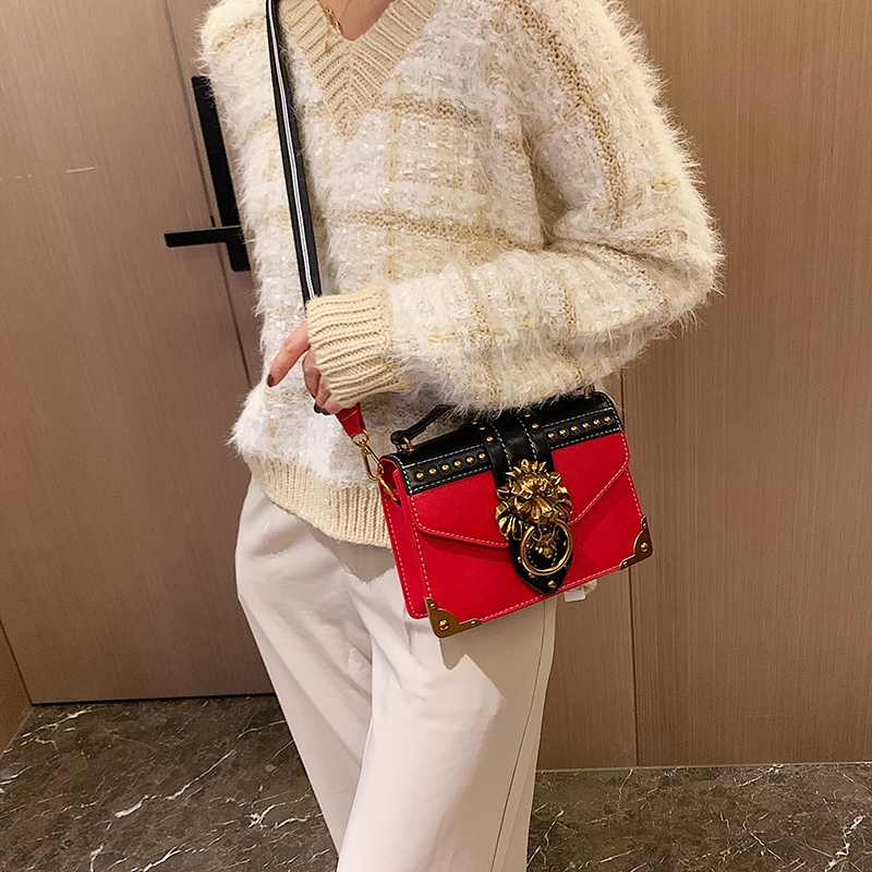 H9998c94fdd094120947c4a7044a19b648 - Female Fashion Handbags Popular Girls Crossbody Bags Totes Woman Metal Lion Head  Shoulder Purse Mini Square Messenger Bag
