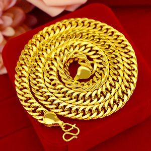 Luxury 24K Gold Necklace Jewelry for Men 10mm Flat Chain Lasting Colorfast Wedding Engagement Jewelry Christmas Gifts Male