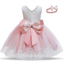 Cute Baby Girls Dress Sleeveless Princess Dress Infant Baptism Dress Toddler Girl Birthday Party Dresses Little Girl Ball Gowns(China)