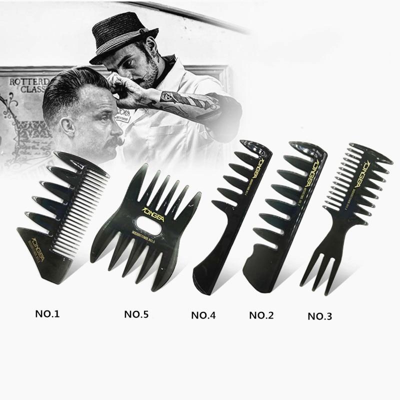 Men's Vintage Oil Head Comb New Oil Head Shape Partner Comb Wide Tooth Fork Comb Back Comb Men's Styling Tools