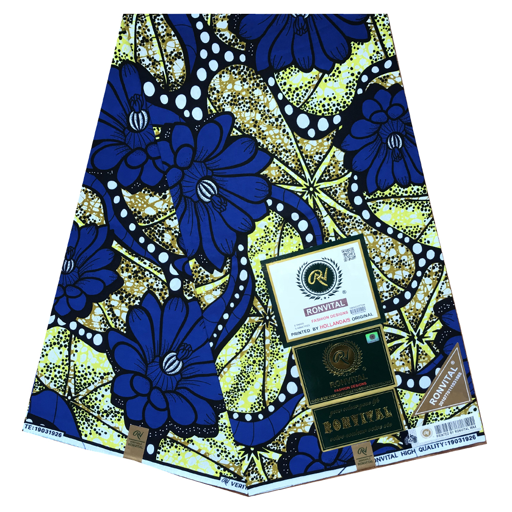 African Fabric  Guaranteed Real  Wax High Quality Pagne Ducth   6yards African Ankara Sewing Fabric