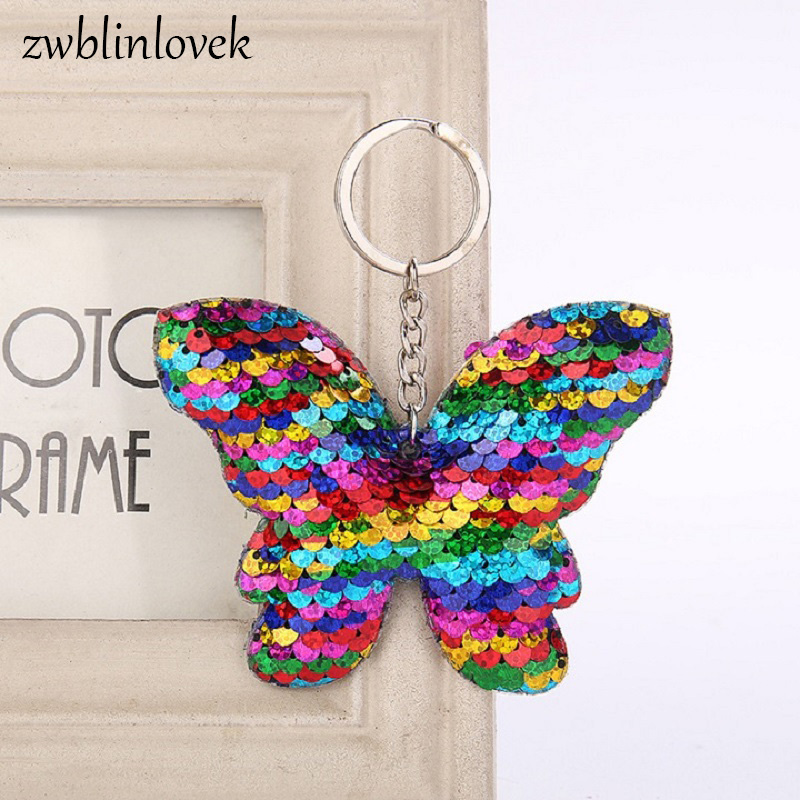 Beautiful Chaveiro Sequins Butterfly Keychain Glitter Key Chain Gift For Women Girl Llaveros Mujer Car Bag Accessories Key Ring