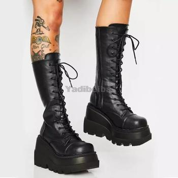 Buty na platformie buty damskie buty zimowe PU skórzane buty jeździeckie Zipper buty damskie Punk Goth długie buty jesień czarne wysokie buty tanie i dobre opinie yuxiang Kwadratowy obcas CN (pochodzenie) Zima Do kolan Stałe 1033 Adult Z POLARU okrągły nosek RUBBER Med (3 cm-5 cm)