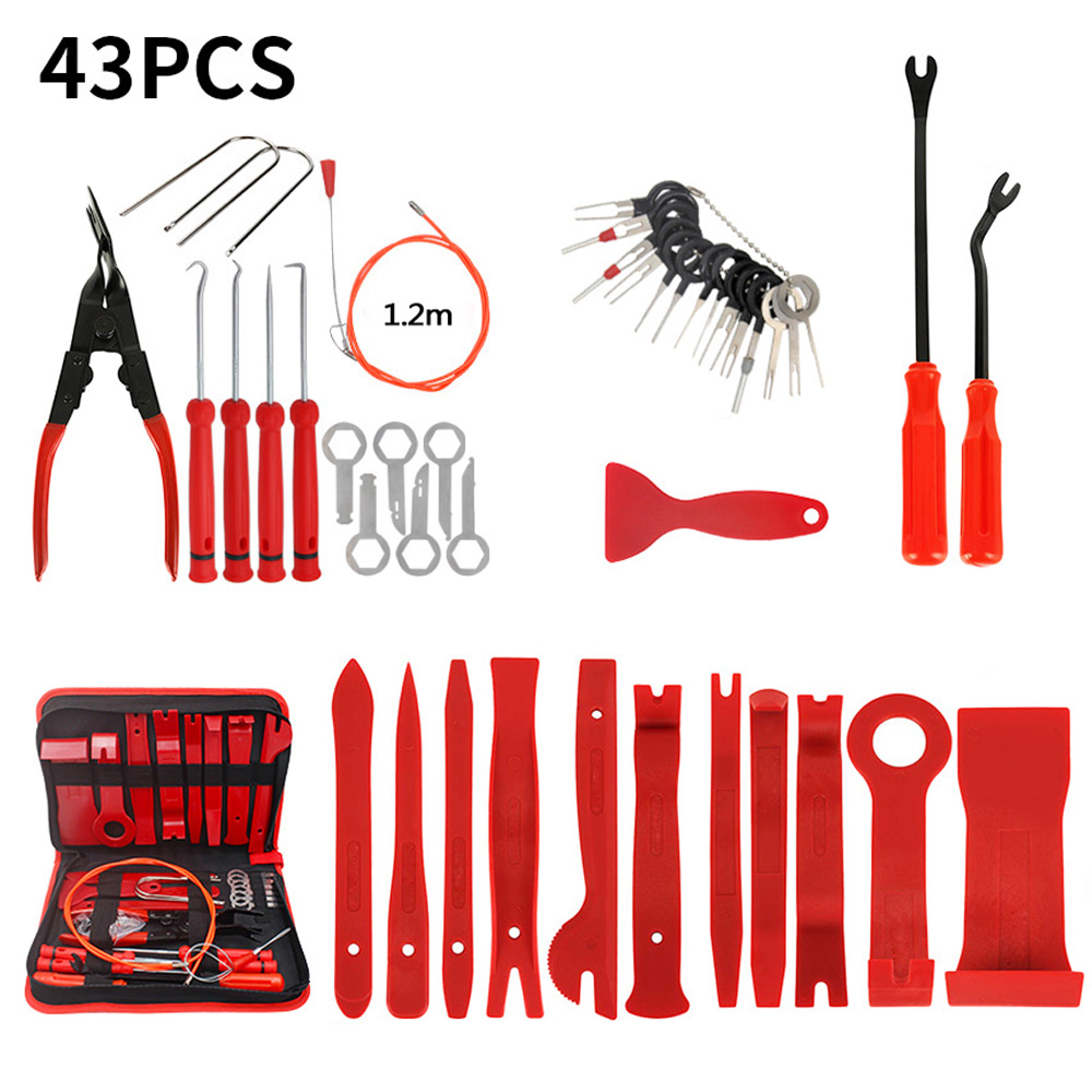 43 Pcs/Set Red Car Removal Tool For Dashboard Audio Stereo GPS Trim Interior Disassembly Installation Tool POM Nylon Zinc Alloy