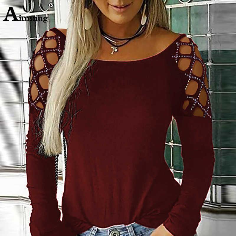 Più il Formato 4xl 5xl Delle Donne Per Il Tempo Libero Della Perla Che Borda Il Nero Magliette e camicette A Maniche Lunghe O-Collo T-Shirt Femminile Autunno casual Ladies Tee Shirt