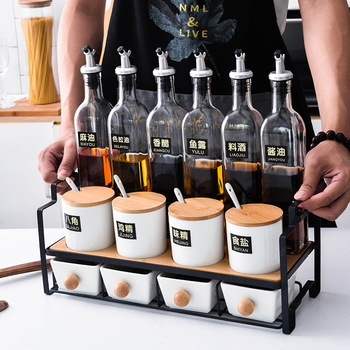 Japanese Seasoning Box Containers Kitchen Supplies Household Oil Bottle Seasoning Box Combination Glass Set Oiler Salt Shaker