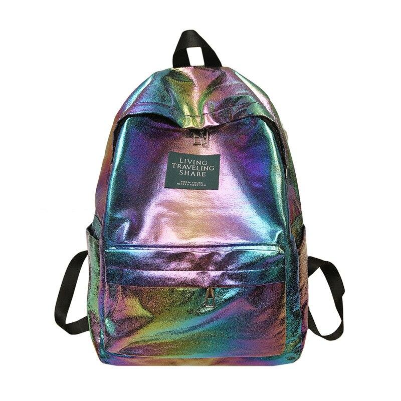 Laser Backpack Women Fashion Student Bags 2019 New Women Travel Backpack Girls Oxford Shoulder Bag Holographic Back Pack