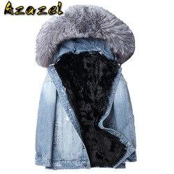 Parka Homme Real Lamb Fur Liner Denim Jacket Winter Jacket Fox Fur Collar Short Parkas Streetwear Coat F-XD-1803 MY1215