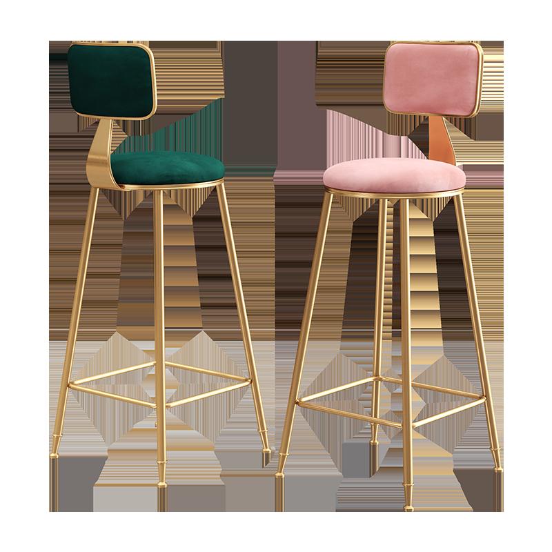 Scandinavian Luxury Ins Bar Chair, Bar Chair, Simple Fashion Bar Chair, Back Stand, High Stand, Golden Internet Red Bar Bench