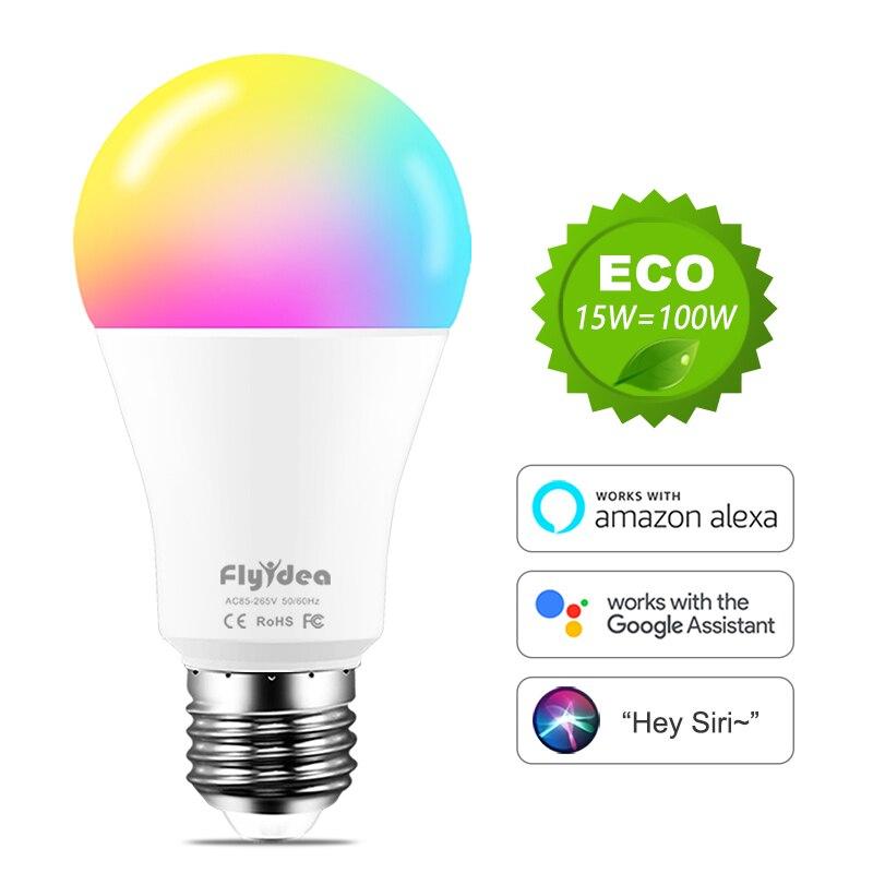 WiFi лампочки E27 светодиоды умный лампочка rgb лампа Изменение цвета лампа Siri Голосовое управление Alexa Google Assistant 100 Вт эквивалент AC 110 В 220 В
