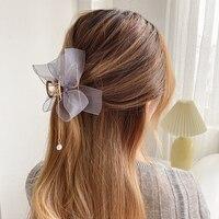 Nuove donne elegante fiocco in Chiffon ciondolo con perle artigli per capelli in metallo capelli dolci decorare clip per capelli testa posteriore accessori per capelli moda