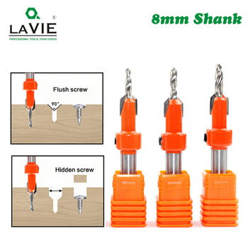 LAVIE 1pc 8mm Shank HSS Woodworking Countersink Router Bit Screw Extractor Remon Demolition For Wood Milling Cutter C08-339