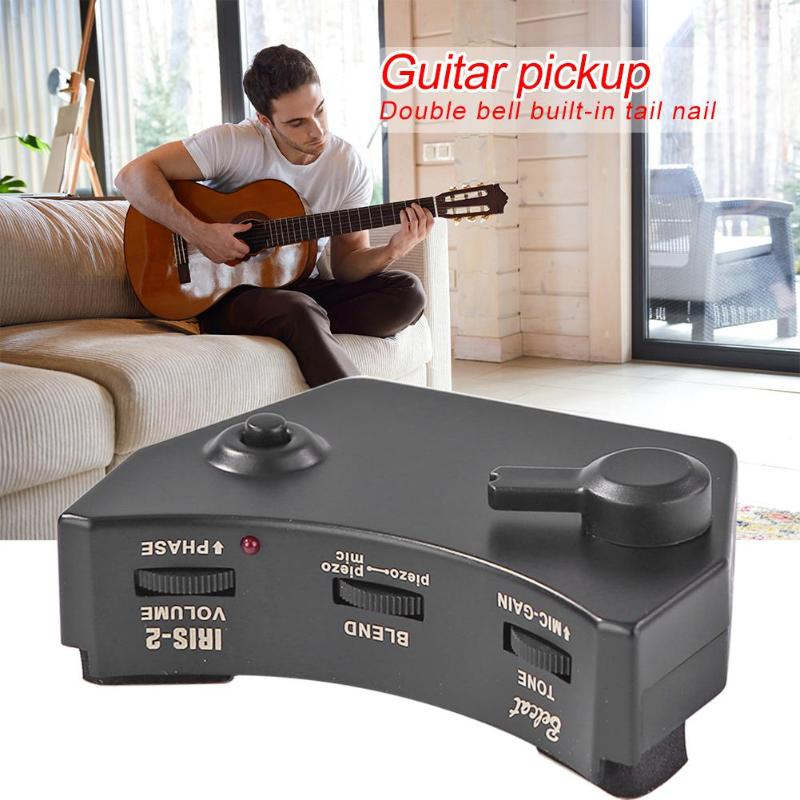 IRIS-2 Belcat Preamp Pickup Electronics And Plastic Shell Finnish Voice Hole Acoustic Guitar Dual Sound Hole With Microphone