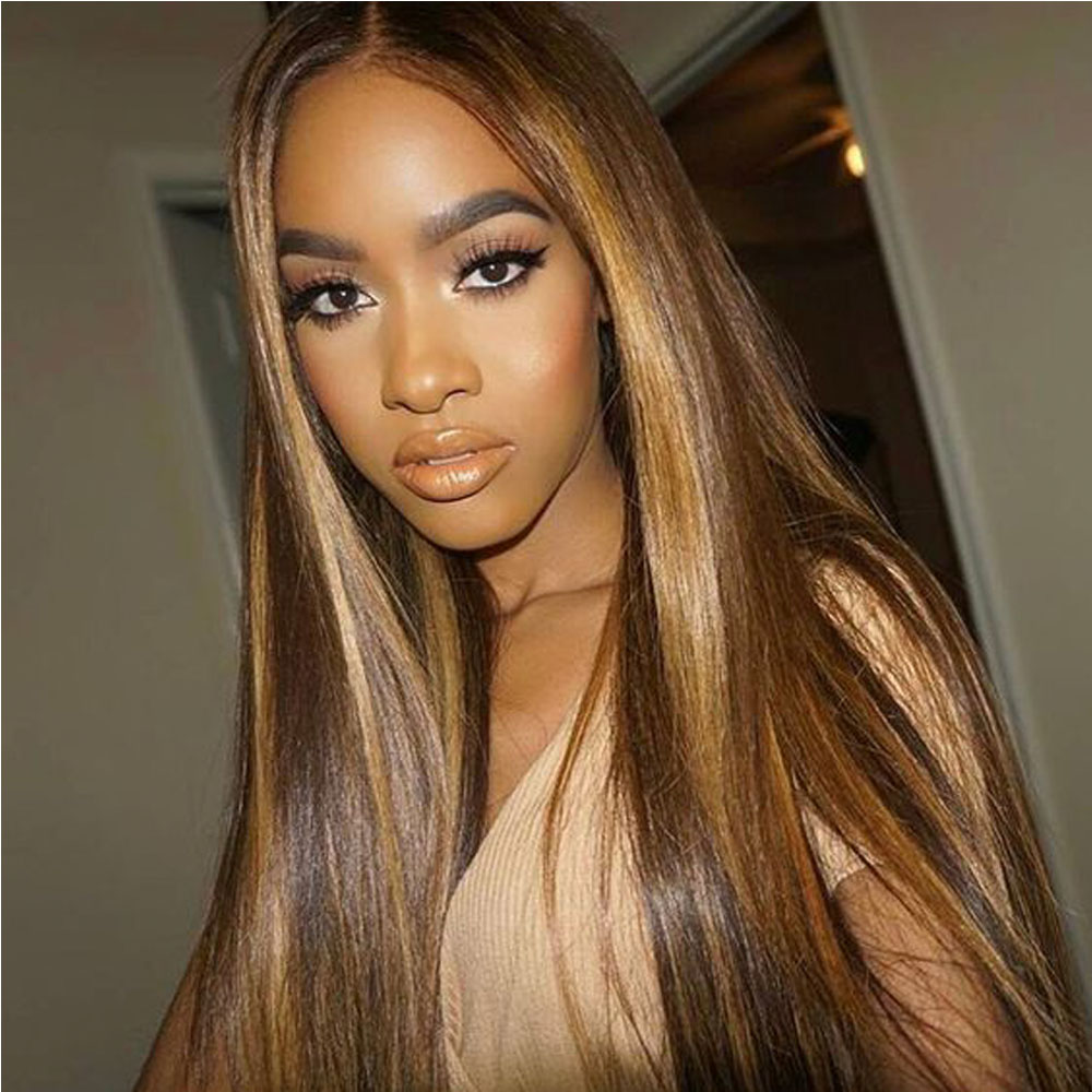 P4-27 Human Hair Wigs With Bangs Brazilian Straight Human Hair Wig For Black Women Ombre Straight Human Hair Wig