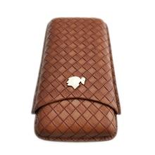 COHIBA Luxury Travel Leather Cigar Case Humidor Holder 3 Tubes Humidor Box with