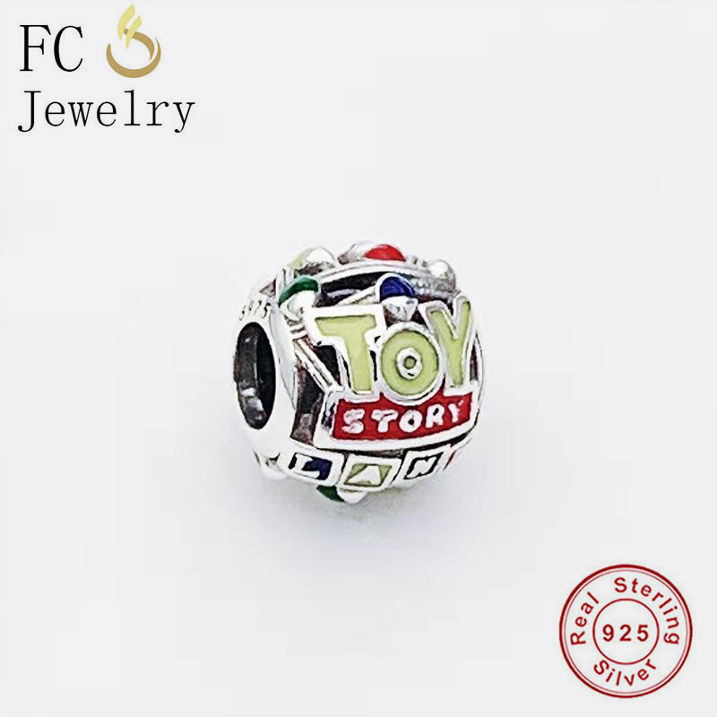 FC Jewelry Fit Original <font><b>Pan</b></font> <font><b>Charm</b></font> <font><b>Bracelet</b></font> 925 Silver Ball Shape Openwork Enamel Toy Story Bead For Making Women Berloque 2020 image