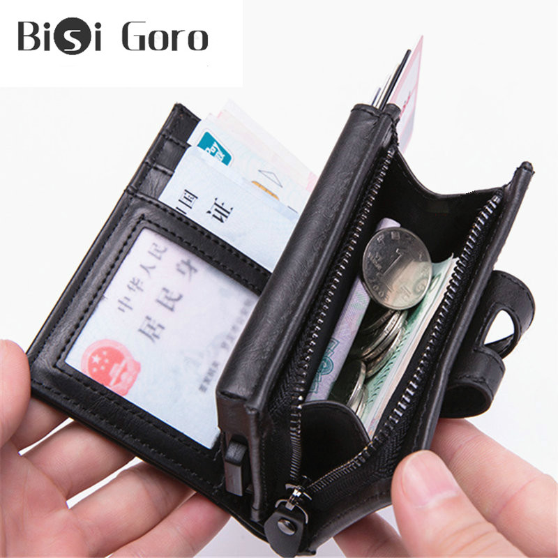 BISI GORO  Big Credit Card Holder Carbon Fiber Card Holder Anti-magnetic Short Wallet RFID Blocking Minimal Security Wallet Coin